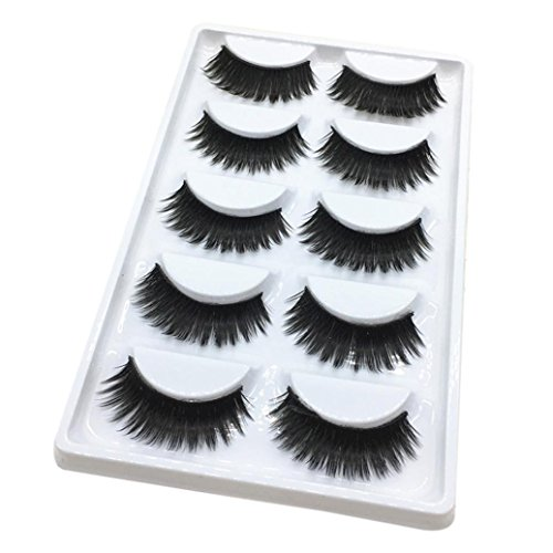 Yanhoo di lusso 3d false ciglia striscia soffice ciglia lungo partito naturale, glue safe alternative to false lash extensions, add length for short eyelashes (c)