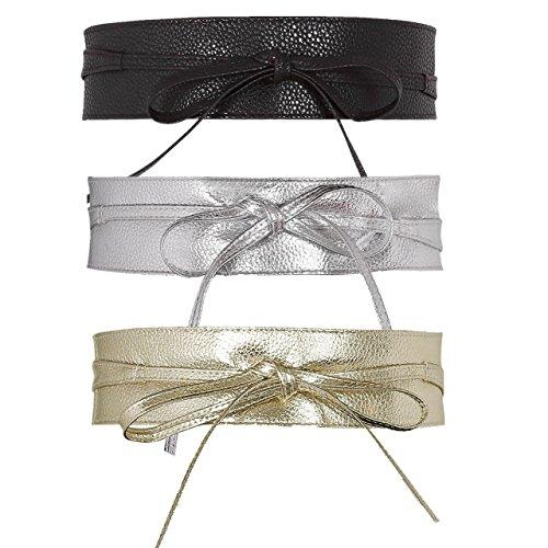 CHIC DIARY Damen Fashion Gürtel Breiter Taillengürtel Hüftgürtel Bindegürtel Ledergürtel in vielen Farben (Schwarz+Silber+Golden)