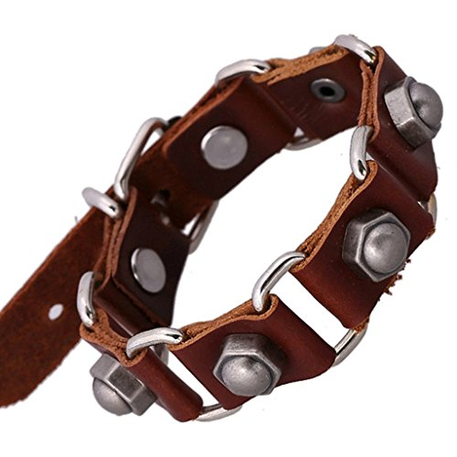 Gnzoe Gioielli Bracciali Uomo/Donne In pelle Perlina Braccialetto Polsino Punk Rock And Roll Retrò Style Bolts,Brown