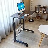 73-92cm Altura Ajustable Mesa de Computadora Portátil Escritorio Móvil de Pie con Ruedas Carro de Bandeja para Cabecera o Sofá (Negro)