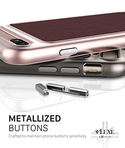 """Leder iPhone 8 Plus / 7 Plus Hülle, Vena [vLuxe][Leder Rücken   Metallisierte Knopf] Schlanke Schutzhülle für Apple iPhone 8 Plus (5,5"""") (Burgund Rot/Rosengold) Burgund Rot / Rosengold"""
