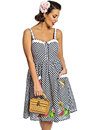 f2e9fa66daf Lindy Bop Corinna  Navy Gingham Tropical Embroidered Swing Dress