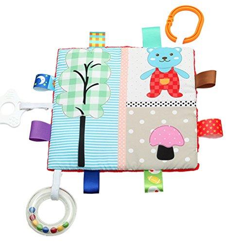 Toyvian Baby Sicherheitsdecken Weiche Tröster Handtuch Decke mit Bunte Taggies (Bär und Pilz)
