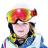 Skibrille Kinder ,COPOZZ G3 Ski Snowboard Brille Brillenträger Snowboardbrille Schneebrille Verspiegelt - Für Junior Jungen Mädchen Baby Teenager - 3 4 5 6 7 8 9 10 11 12 Jahre - OTG Anti-UV Anti-Fog (Rot)