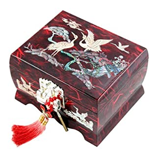 Mother of Pearl Musical Bird Design Wooden Girls Jewelry Mirror Trinket Keepsake Treasure Gift Music Asian Lacquer Box Case Chest Organizer with Crane and Pine Tree in Red Mulberry Paper by Antique Alive Jewelry Box