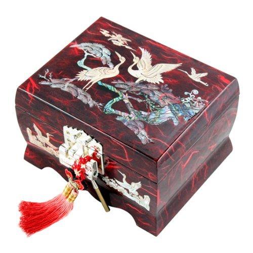 Nacre musical Motif oiseau en bois Filles Bijoux Miroir à bijoux souvenir au trésor Cadeau Musique asiatique laque Boîte Organiseur de coffre avec grue et sapin en rouge papier mûrier