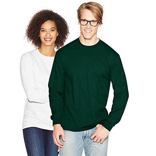Hanes Adult Beefy-T Long-Sleeve T-Shirt, Ash, 2XL Deep Forest