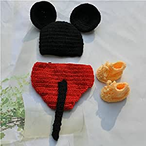 Mignon Mickey Mouse Style bébé nourrisson nouveau-né fait main Crochet Beanie Hat vêtements bébé photographier les accessoires (adapté aux 0-6 mois bébés à usure)