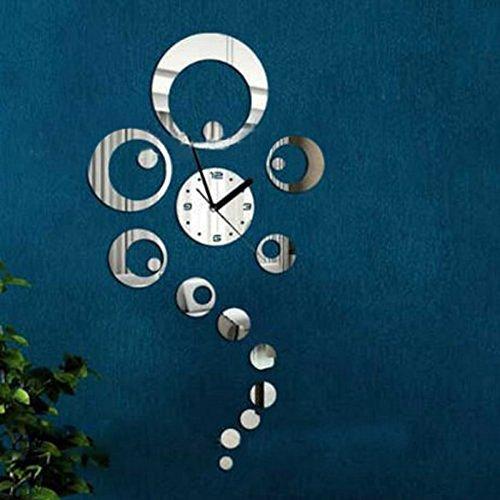 Tinksky novitÀ rimovibile 3d fai da te home living room camera da letto moderna decorazione cerchi specchio parete adesivo orologio da parete (argento)