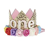 #9: Ziory Golden Color & Pink Rose Flower 1St Birthday Hat Glitter Crown For Baby Boys And Girls