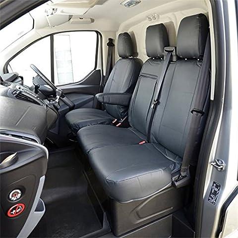 Fundas a medida de cuero sintético para asientos delanteros de Ford Transit Custom 2013 y posteriores, color negro