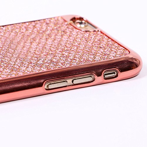 Custodia iphone 7 plus 5.5, Cover per iphone 8 plus Silicone, iphone 7 plus Glitter Cover, MoreChioce Moda Glitter Sparkle Bling bling Brillante Morbido 3d Gel TPU Silicone Gomma Cover Case Custodia p A-Oro Rosa