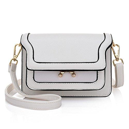 Frauen Mode Vintage Schultertaschen PU Crossbody 2 Farben Für Wahl White