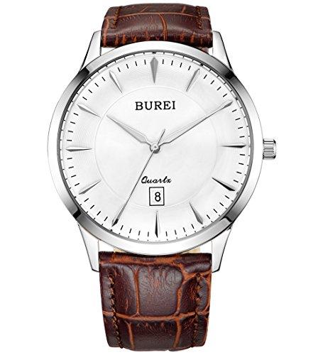 BUREI Herren Uhren Analog Quarz-Armbanduhr mit Datum Silver Dial Sapphire Crystal Lens Leder Band