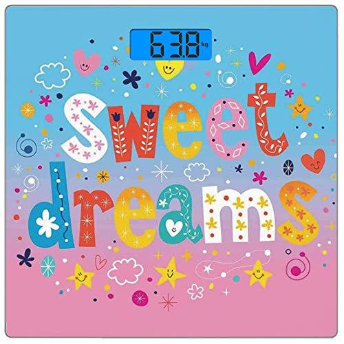Digitale Präzisionswaage für das Körpergewicht Platz Kinder Ultra dünne ausgeglichenes Glas-Badezimmerwaage-genaue Gewichts-Maße,Süße Träume bunte Ombre Sterne Blumen Wolken Herzen lustige Buchstaben -