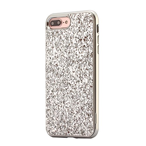 Coque iPhone 7, iPhone 8 Coque Silicone Paillette, SainCat Ultra Slim Silicone Case Cover pour iPhone 7/8, Bling Bling Glitter Coque Silicone en Plastique Ultra Resistante Soft Gel TPU Silicone Case A Argent