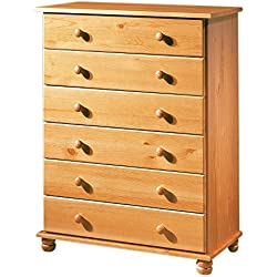 Dogar Altea - Comoda 6 cajones altea, 100 x 78 x 39 cm, madera, color miel