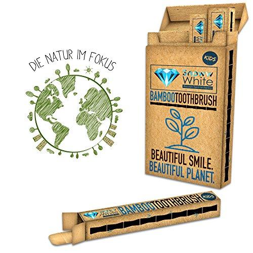 Bambus Zahnbürste für Kinder 4er Set - Pflegend weiche Borsten - Kleiner Bürstenkopf - Ökologische Kinderzahnbürste - Plastikfrei verpackt zur umweltfreundlichen Mundhygiene - 4