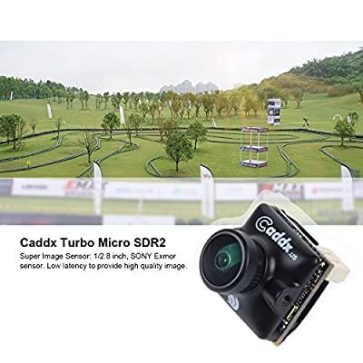 "Caddx FPV Camera Turbo Micro SDR2 1200TVL 2.1mm Lens Mini FPV Camera 1/2.8"" Sony Exmor-R Starvis NTSC/PAL 16:9/4:3 Changeable Super WDR Black for FPV Quadcopter Racing Drone"
