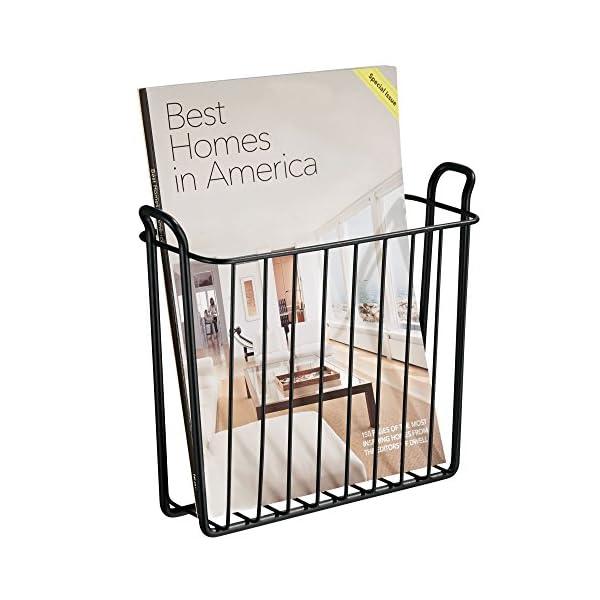 mdesign porte journaux mural compartiment magasines l gant en m tal pour salon salle de bain. Black Bedroom Furniture Sets. Home Design Ideas