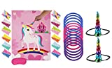 Cooper life Unicorn Party Game Set   Unicorn Ring Toss Game + Épinglez Le cor sur la Licorne   Jeux de faveur de fête d'anniversaire pour Enfants, Fournitures parfaites pour Les fêtes de la Licorne