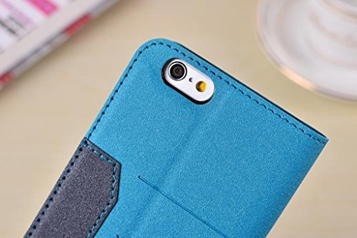 Gemischte Farben Glänzende Sparkles Pattern Magnetische Verschluss PU Ledertasche Cover mit Kickstand & Card Slot für iPhone 6 Plus & 6s Plus ( Color : Black ) Blue