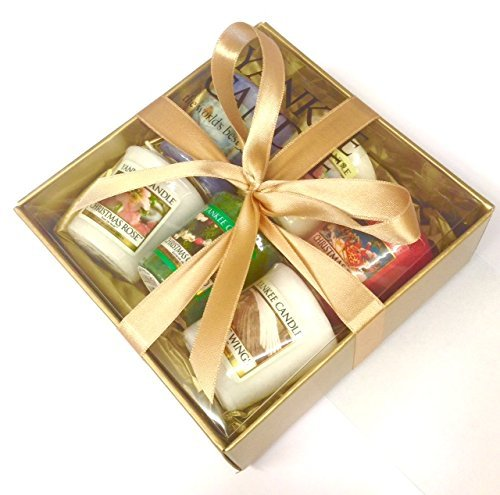 Yankee candle 6 samplers gift pack gift wrapped set in gold box yankee candle 6 samplers gift pack gift wrapped set in gold box gold tissue negle Image collections