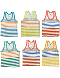 Kid's Care Printed Inner Wear Baniyan Unisex Printed Cotton Sando Vest/Brief Cotton Vest Top Undershirt for New Born Baby Boy/Girl- Pack of 6(PMPV_Multicoloured)
