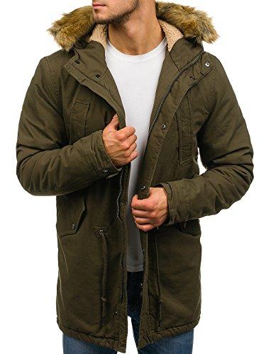 BOLF Hombre Chaqueta de Invierno Parka Larga con Capucha Forrada Estilo Cotidiano AK-CLUB YL001 Verde XL [4D4]