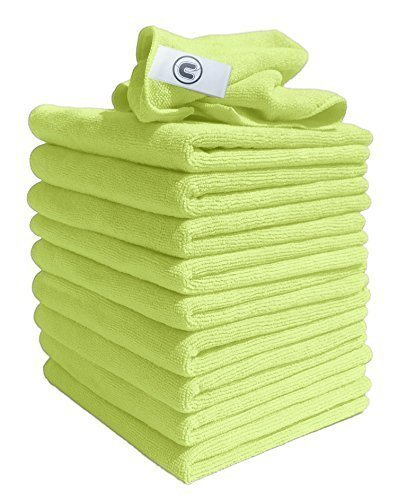 Microfibre Cloths Similar to Exel Magic Cleaning Cloths. Chemical Free Cleaning. Large Super Soft Premium Fibre, Washable Cloth Duster for Car, Motorbike, Domestic Appliances, Industrial use (Yellow, 10)