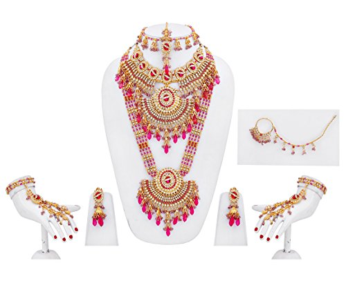 Lucky Jewellery Magenta Gold Plated Bridal Jewellery Set For Women 8 Pcs.