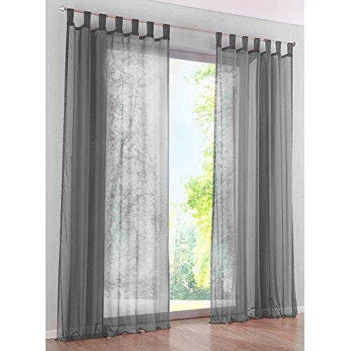 KOU-DECO Schlaufen Gardinen Polyester Transparent Voile Vorhänge 1er-Pack Vorhang (B*H 140*245cm, grau) Rosa Geraffte Vorhänge
