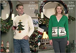 King Cole Reindeer Cardigan & Christmas Tree Sweater Knitting Pattern 3284
