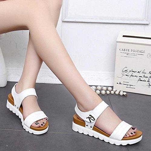 DM&Y 2017 Frau Sommer Fischkopf dicke Kruste Hang mit Sandalen mit Schuhen mit Klettverschluss Muffin in White