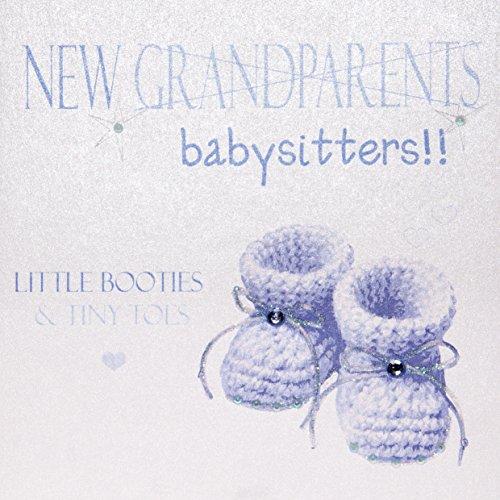 WHITE COTTON CARDS N 538.48 cm Blue Babyschuhe, New Grandparents/Babysitter zur selben Zeit auf Kleine Booties & Tiny Toes Baby Boy, Handgefertigt