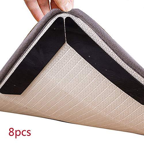 Scrolor Teppich Anti Slip Mat Teppiche Aufkleber 8 STÜCKE Anti Curling Teppich Pad Für Ecken PU Kanten Teppiche Greifer(Schwarz,180 * 30 * 2mm)