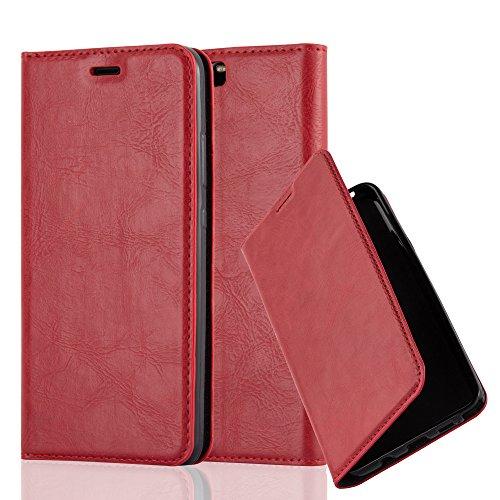 Preisvergleich Produktbild Cadorabo Hülle für Huawei P10 - Hülle in Apfel ROT – Handyhülle mit Magnetverschluss,  Standfunktion und Kartenfach - Case Cover Schutzhülle Etui Tasche Book Klapp Style