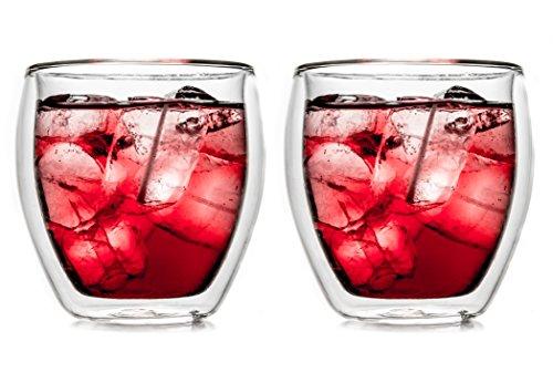 Creano Verre Isotherme à Double paroi 250ml '''bulbeaux DG'', Ensemble de 2, Grand Verre résistant à la Chaleur en Verre de Borosilicate, Tasse à café/de thé