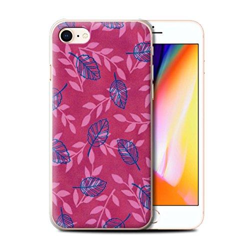 Stuff4 Hülle / Case für Apple iPhone 8 / Lila/Blau Muster / Blatt/Ast Muster Kollektion Rosa/Blau