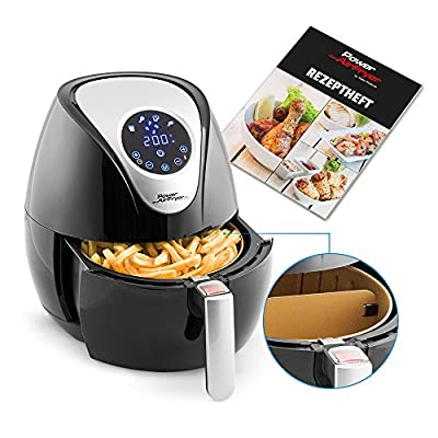 Mediashop Power Airfryer Xl Deluxe 32 L Heiluft Fritteuse Easy Touch Display Thermostat Und Timer Backen Ohne L Inkl Trennwandeinsatz Pizzapfanne Backeinsatz 1350 Watt Mediashop