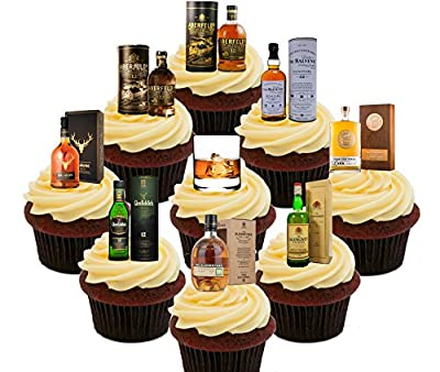 Whisky Lover's Single Malt Party Pack, Edible Cake Decorations - Stand-up Wafer Cupcake Toppers
