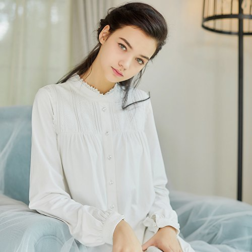 JINSHENG Nachthemd Lange ärmel Langen ärmeln Lange röcke schwanger Baumwolle Lange röcke inneneinrichtungsgegenstände Retro - Gericht Pyjamas,160 (m),weiße