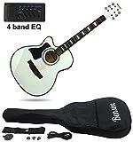 Benson S-Line Linkshänder Elektrische Semi Elektroakustische Gitarre mit Hohlkorpus (Arctic weiß) Fender Plektren und Unterricht