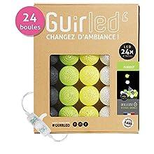 Ghirlanda luminosa con sfere di cotone a LED, caricabatterie doppio USB 2A incluso, 3 intensità diverse, 24 sfere, motivo: Forest