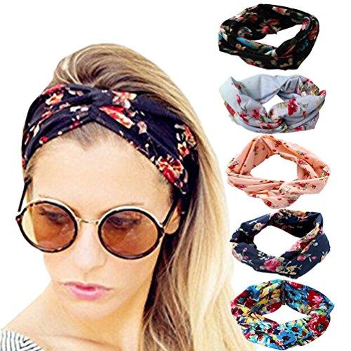 DRESHOW Frauen 5 PCS Stirnbänder Headwraps Hair Bands Bögen Zubehör (schwarz, navy, rosa, blau, hellblau)