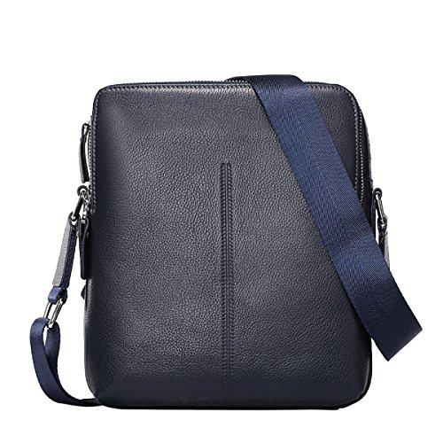 Yy.f Pelle Pacchetto Maschio Diagonale Spalla Modelli Di Chiusura Lampo Borse In Pelle Casual Uomo Borse Business Blue