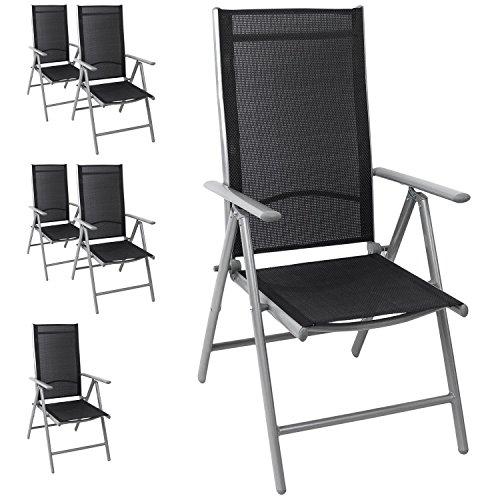 6x Aluminium Hochlehner Gartenstuhl, hochwertige Textilenbespannung ...