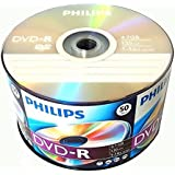 50 Pack Philips Blank DVD-R DVDR Logo Branded 16X 4.7GB 120min Recordable Media Disc + 50 White Paper Sleeves Window Flap Envelope