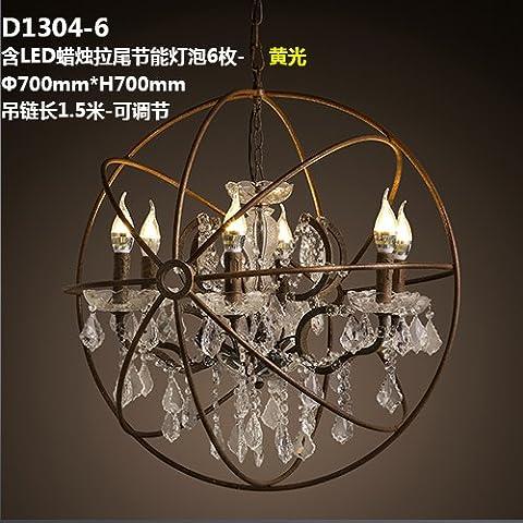 QWER Villaggio americano terra lampadari di cristallo rotondo personalità creative Ville Living Room Bar è decorato con lampadari ,D1304-6 incluso LED candela-coda verso il basso delle lampadine a risparmio energetico 6 -