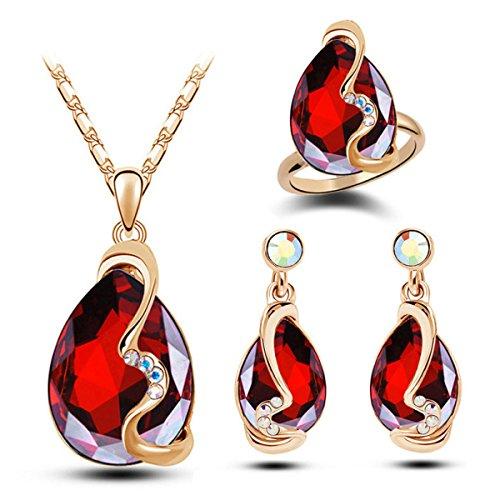 ZPXLGW Luxe Luxe Collier De Cristal Autrichien Trois Ensembles red
